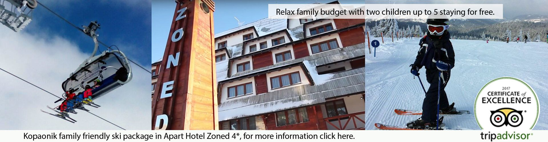 Family on ski lift, exterior of hotel Zoned and little boy on skiing at Kopaonik