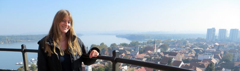 Girl is on the top of the Gardos tower in Zemun