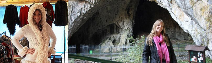 Girl in white sweater is posing and girl is in the front of the cave.