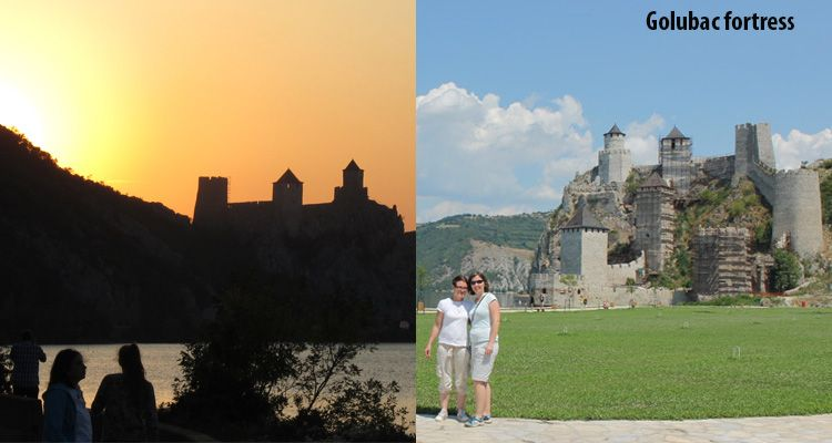 Difference between daylight and night at Golubac fortress.