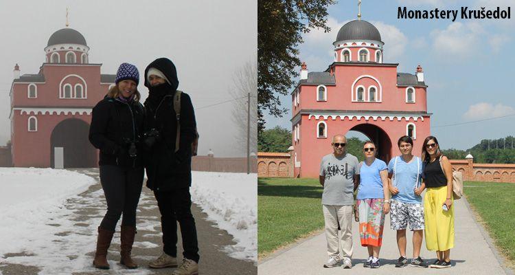 Difference between winter and summer season at monastery Krušedol.