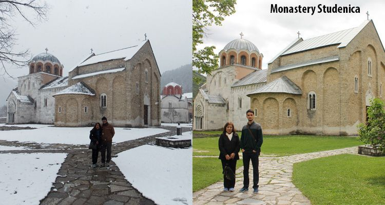 Difference between winter and spring season at monastery Studenica.