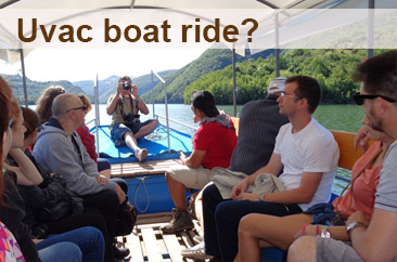 People during the boat ride in Uvac canyon.