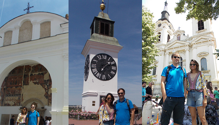 Couple is in front of the Fruska gora attractions as one of the Serbian top five destinations.