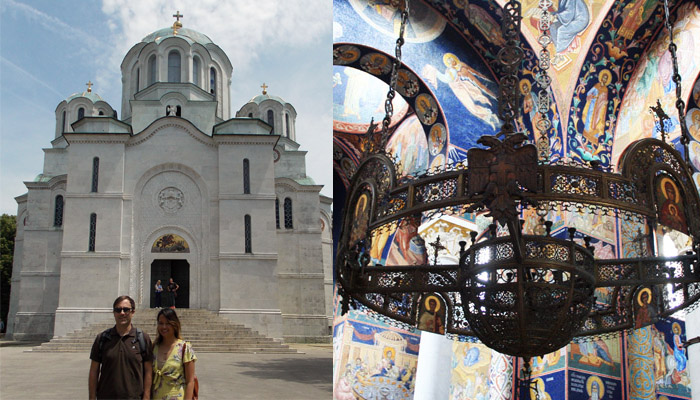 Couple is posing in front of the church Saint George as one of the Serbian top five destinations.