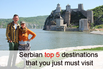 Couple in front of the Golubac fortress. one of the Serbian top five destinations