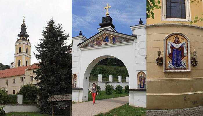 One of the monasteries of Fruska Gora is Grgeteg, entrance gate. the bell tower and the icon