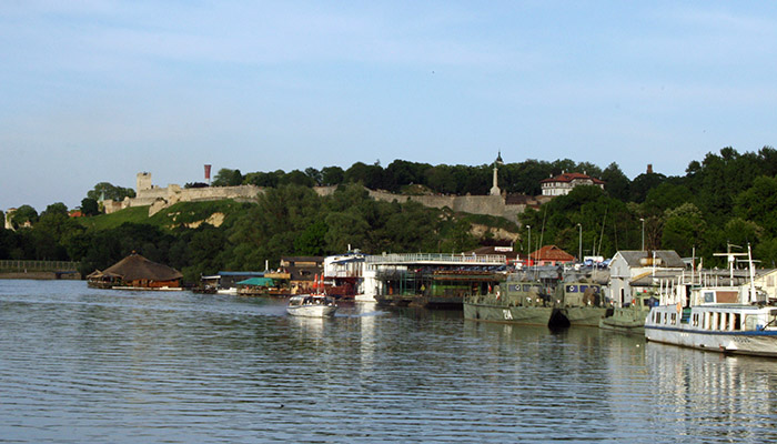 View from Danube river on Kalemegdan fortress