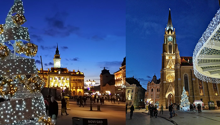 What to visit near Belgrade is Novi Sad by night.